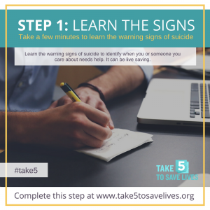 TAKE 5 TO SAVE LIVES #WorldSuicidePreventionDay September 10, 2017